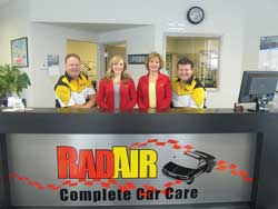 """The Rad Air team includes (from left) Tom Warmuth, Brittany Gumucio, Elissa Fiffick and Andy Fiffick. Andy, an ASE certified technician, is a self-professed """"gear-head"""" with a passion for all things automotive."""
