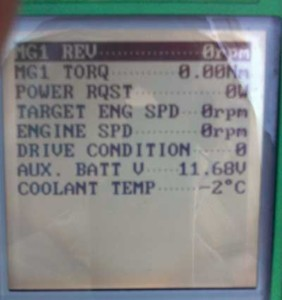 """Figure 1 - These parameters show """"Drive Condition at 0, """"Aux. Batt V"""" is at 11.68v and """"Coolant Temp"""" at -2 degrees Celsius."""