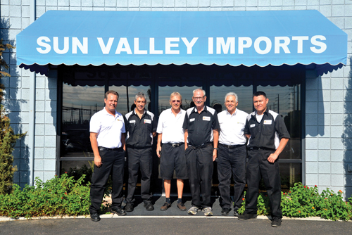 The Sun Valley Imports team includes, from left: Juergen Ankert, Derek Lomax, Barry Breymeyer, Don Raymond, Steve Yacovone and Jared Chief.