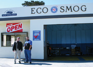 Pacific Motor Service's smog check shop in Monterey is run by Daren Forth, left, and Phill Landa.