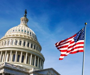 American Flag Waving With The Capitol Hill Picture Id1154438278