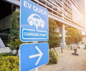 Closeup Sign And Symbol Of Electric Car Charging Point With Arrow On Picture Id1140705103