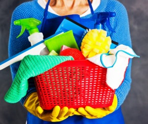 Spring Cleaning Cleaner Holding Red Plastic Basket Of Cleaning And Picture Id1088192762