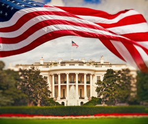 The White House With Waving American Flag Picture Id918426992
