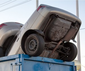Junk Cars In Dumpster Cash For Clunkers Picture Id452549735