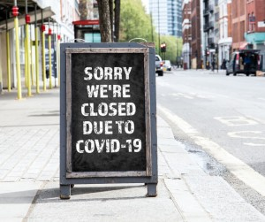 Sorry Were Closed Due To Covid19 Foldable Advertising Poster Picture Id1213432934