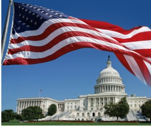 American Flag In Front Of The Capitol Picture Id157530503